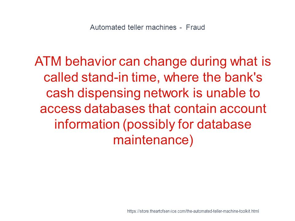 Automated teller machines - Fraud