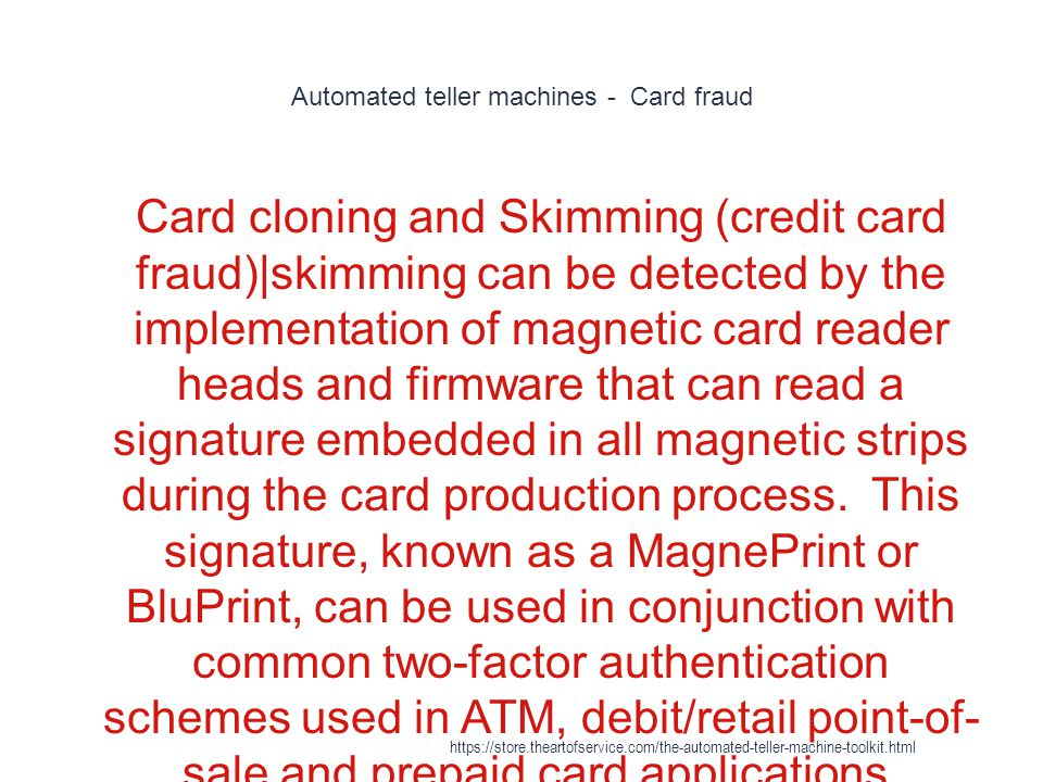 Automated teller machines - Card fraud