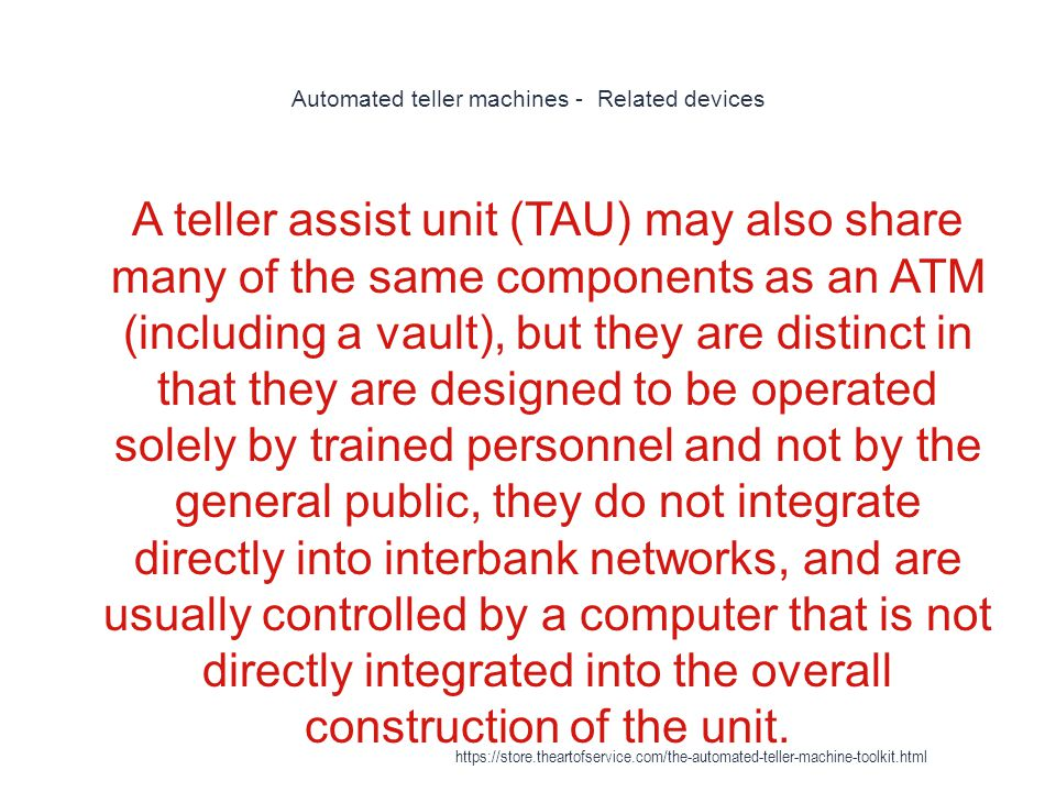 Automated teller machines - Related devices
