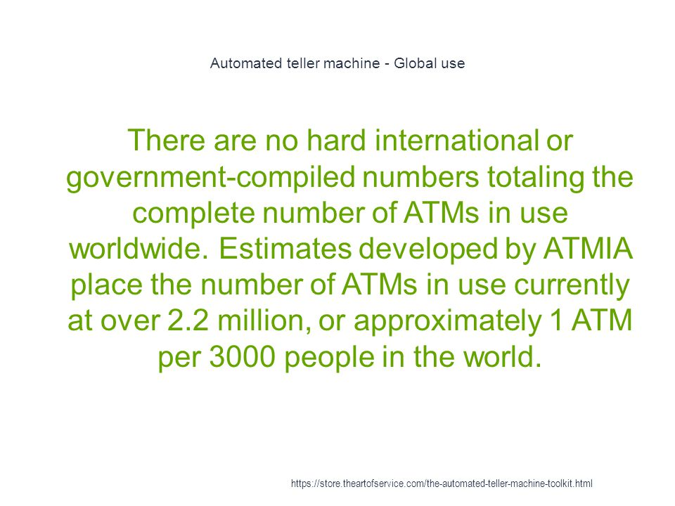 Automated teller machine - Global use