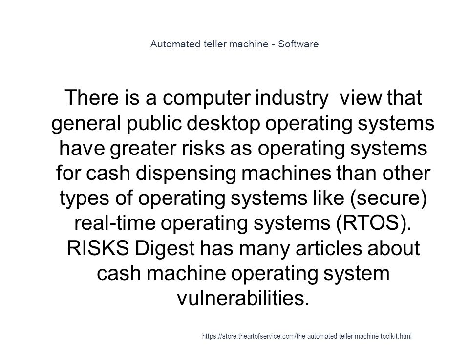 Automated teller machine - Software