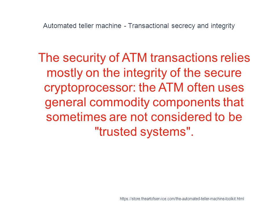 Automated teller machine - Transactional secrecy and integrity