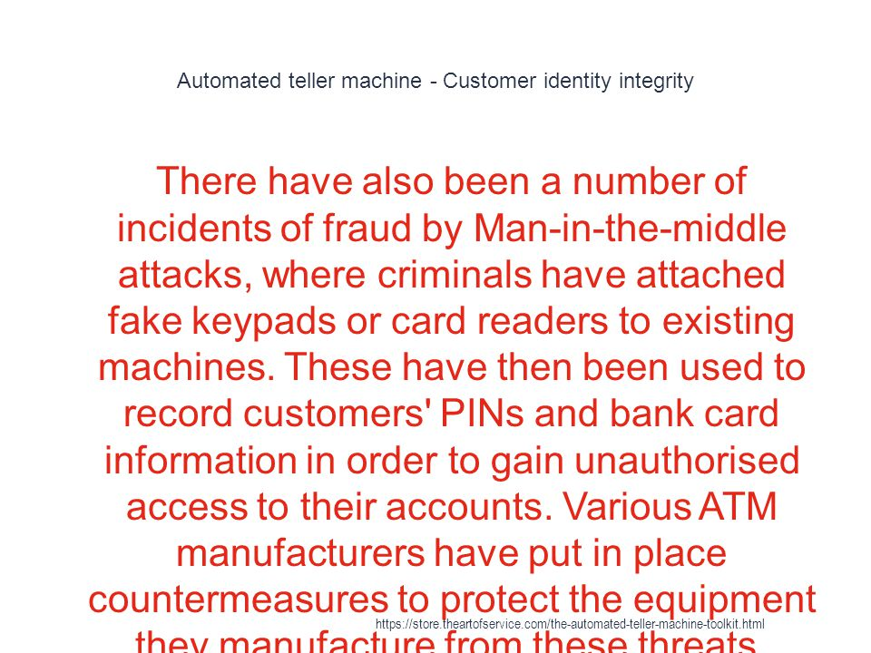Automated teller machine - Customer identity integrity
