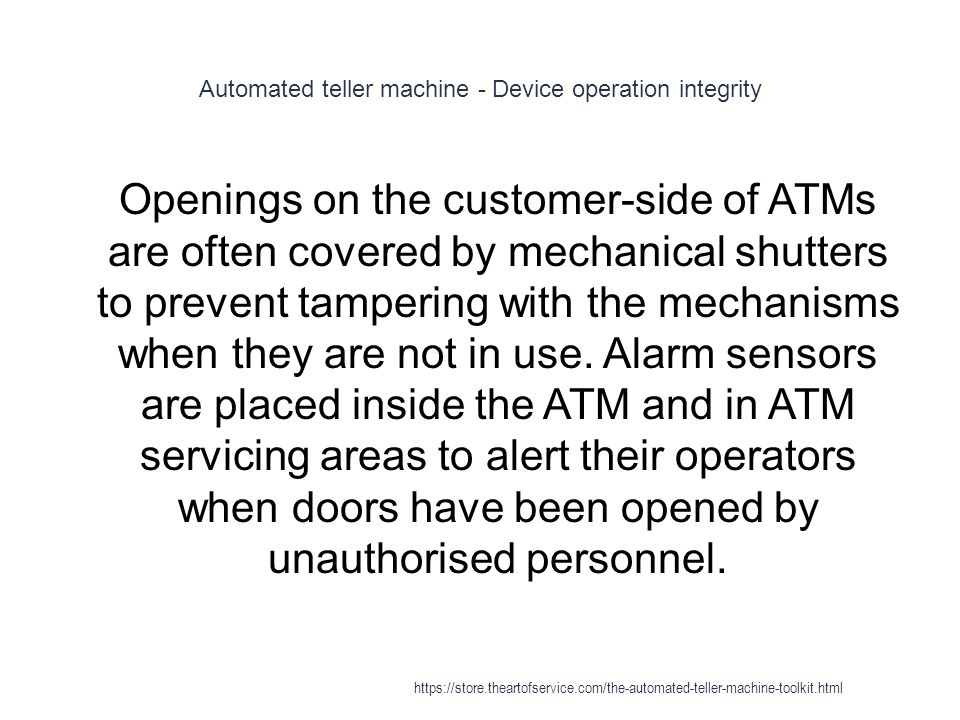 Automated teller machine - Device operation integrity