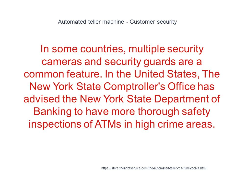 Automated teller machine - Customer security