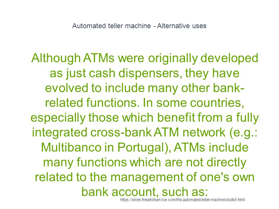 Automated teller machine - Alternative uses