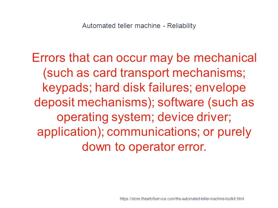 Automated teller machine - Reliability