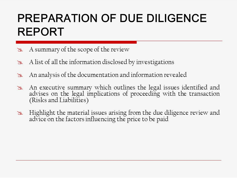 legal due diligence report sample pdf