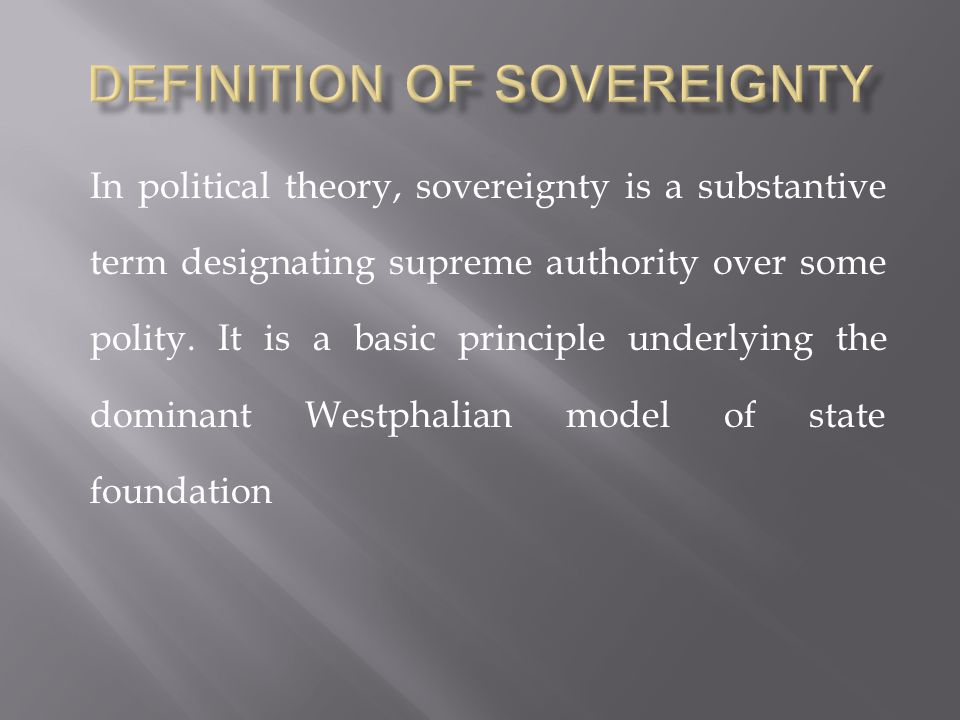 Definition of Sovereignty