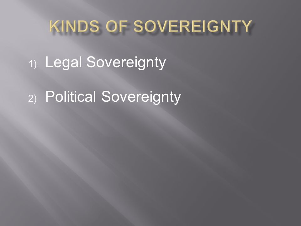 Legal Sovereignty Political Sovereignty