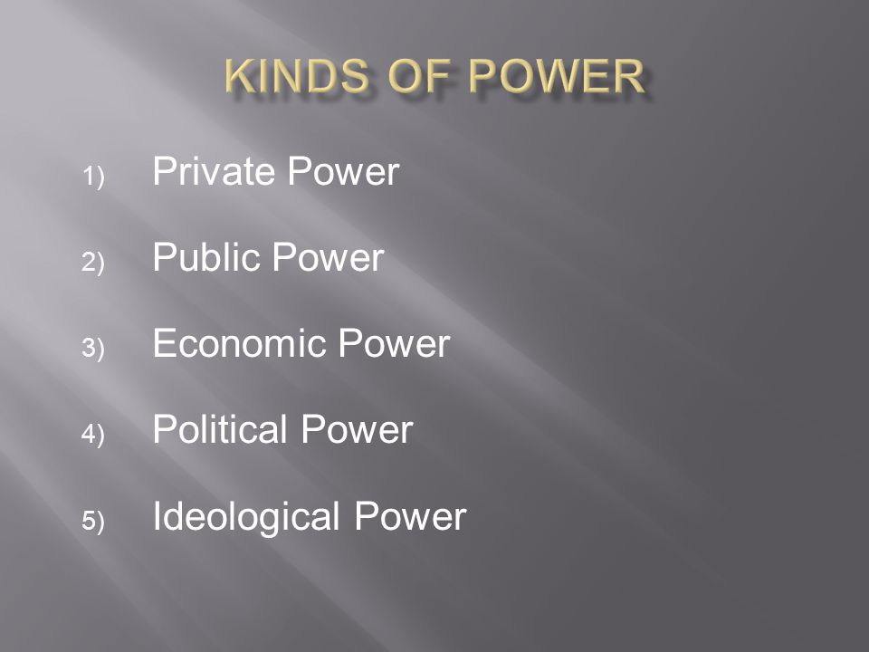 Kinds of Power Private Power Public Power Economic Power
