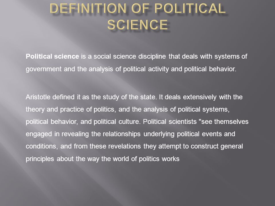 Definition of Political Science