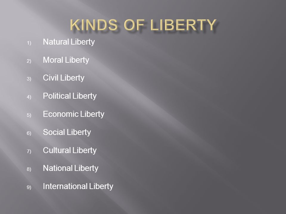 Kinds of Liberty Natural Liberty Moral Liberty Civil Liberty