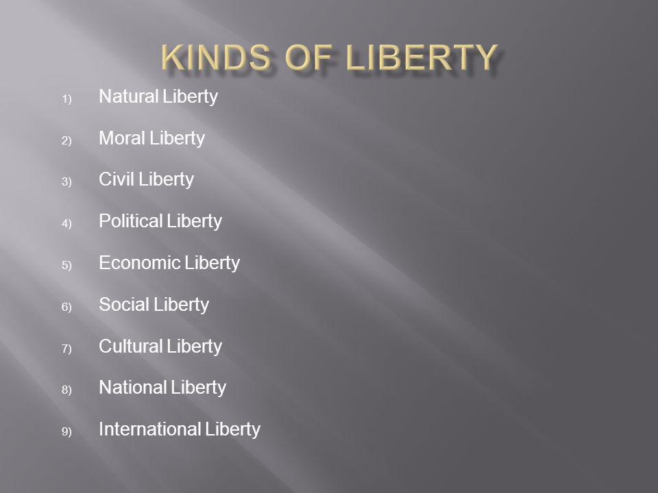Kinds of Liberty Natural Liberty Moral Liberty Civil Liberty