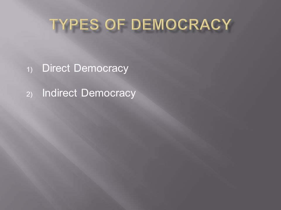Direct Democracy Indirect Democracy