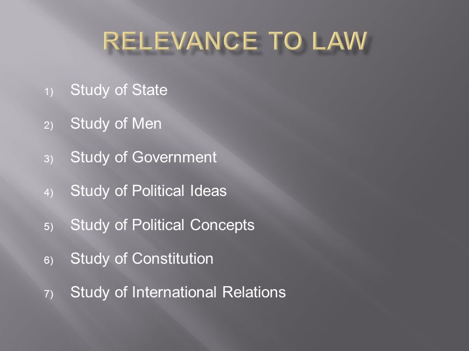 Relevance to Law Study of State Study of Men Study of Government