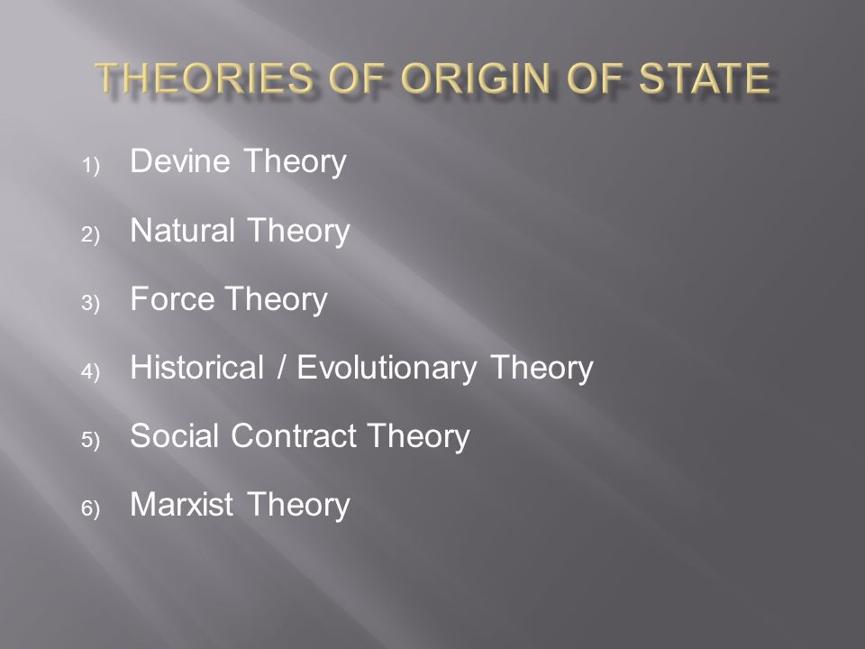 Theories of Origin of State