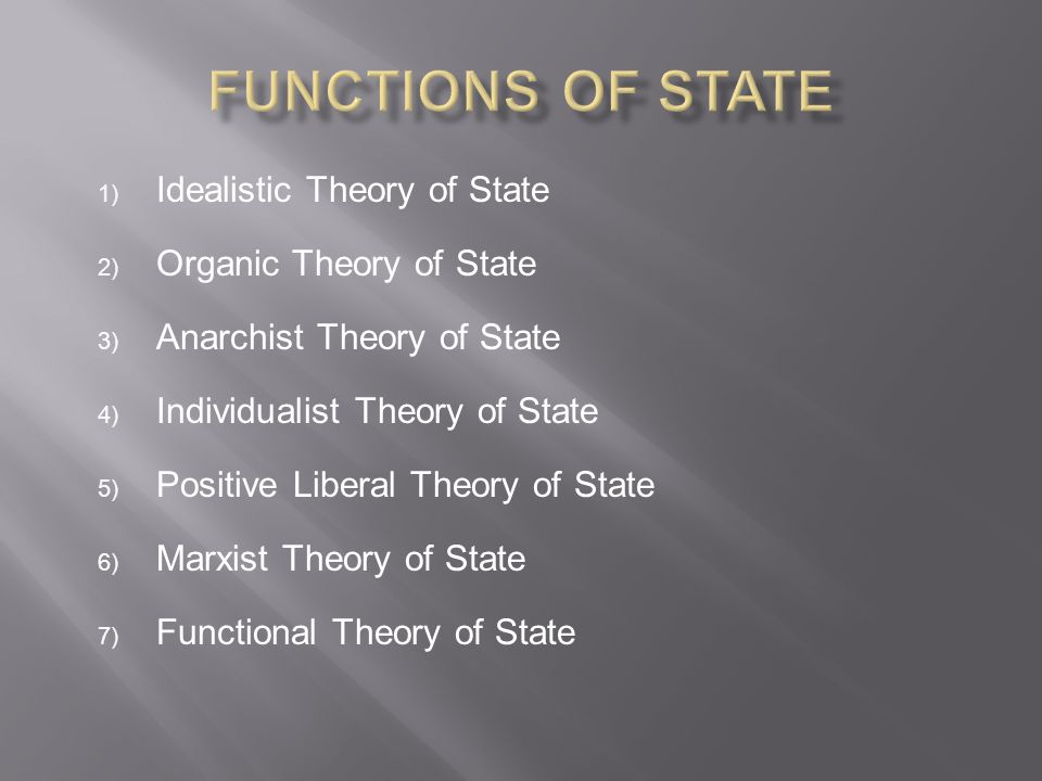 Functions of State Idealistic Theory of State Organic Theory of State
