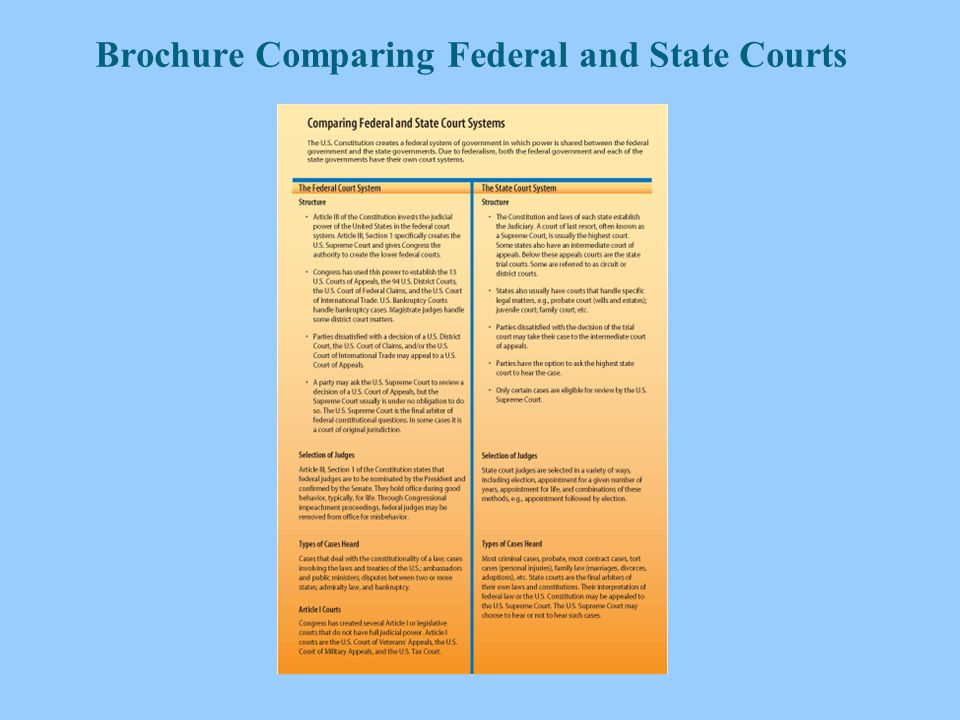 compare and contrast the state and federal court system State & federal governments similarities  the number of judges is what differs between federal and state appellate courts the federal court of appeals has a three.
