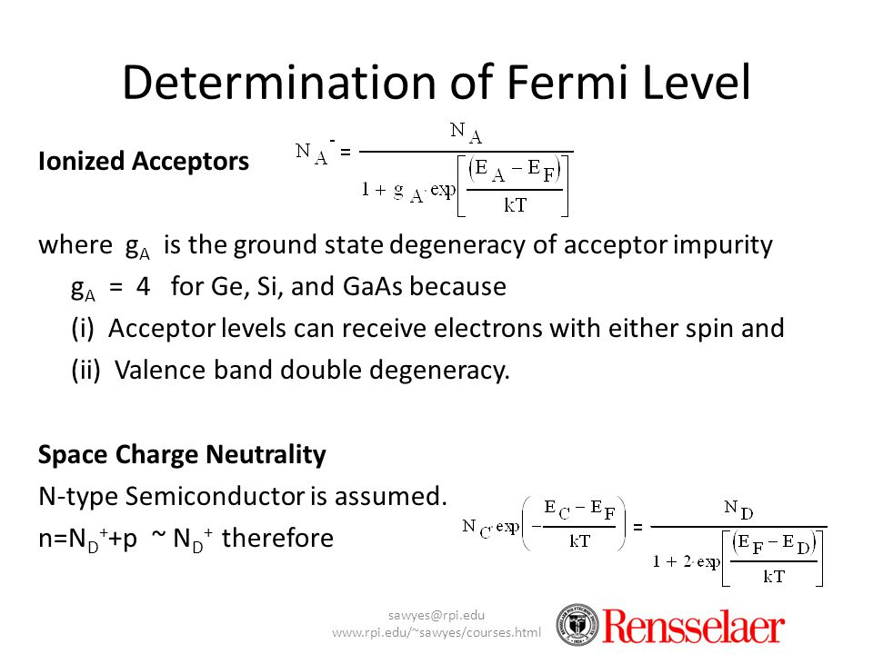 Determination of Fermi Level