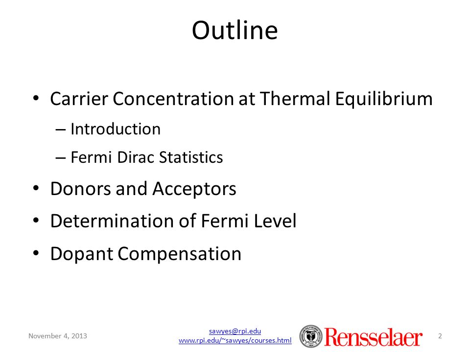 Outline Carrier Concentration at Thermal Equilibrium