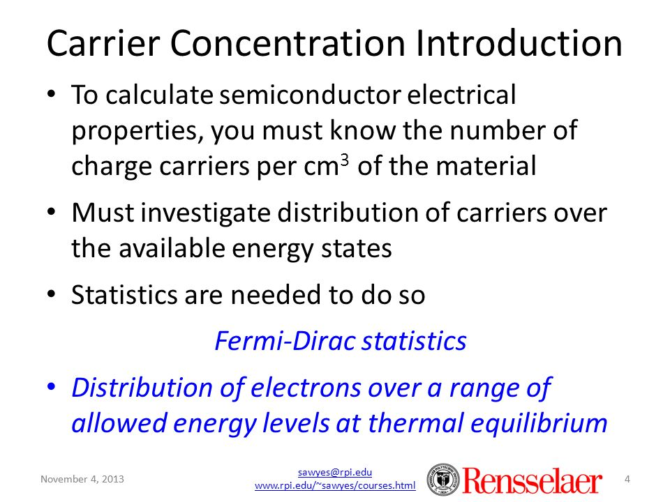 Carrier Concentration Introduction