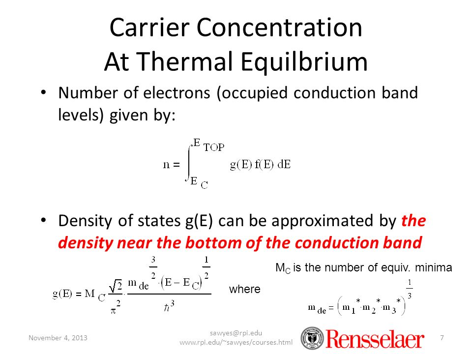 Carrier Concentration At Thermal Equilbrium