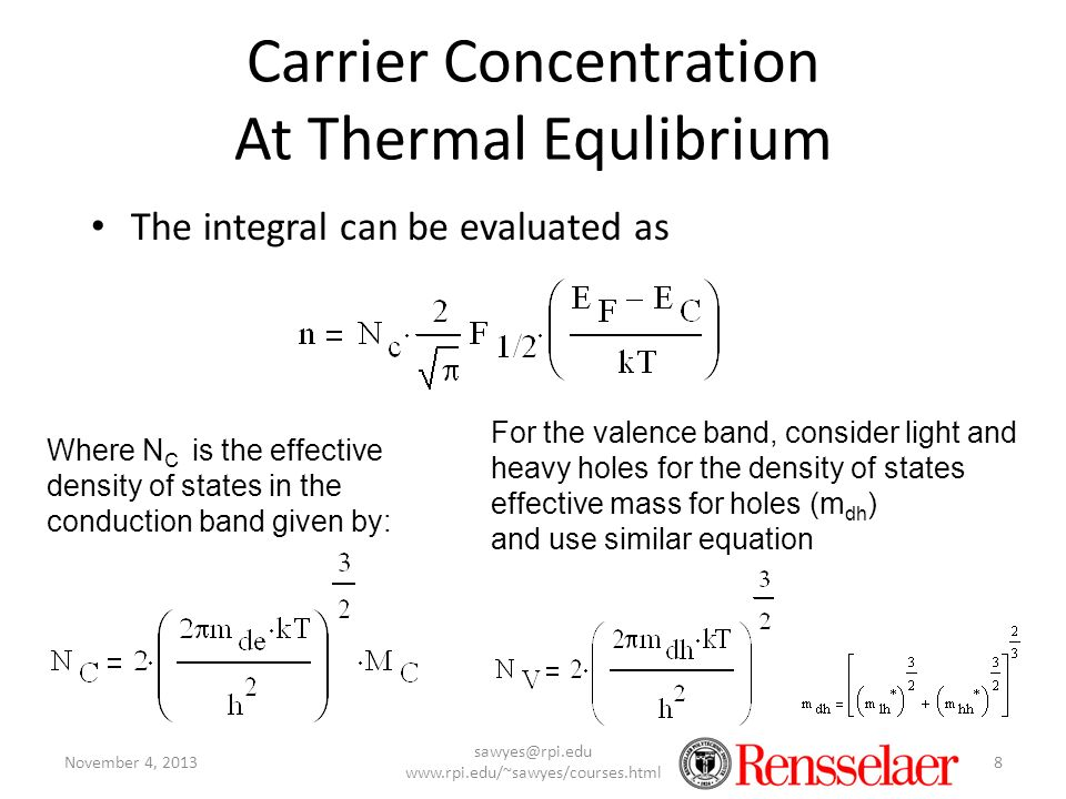 Carrier Concentration At Thermal Equlibrium