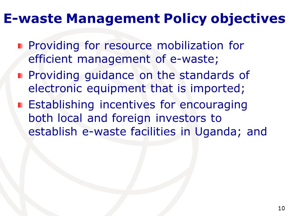 E-waste Management Policy objectives