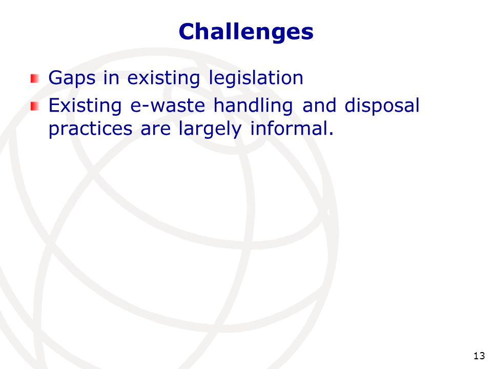Challenges Gaps in existing legislation