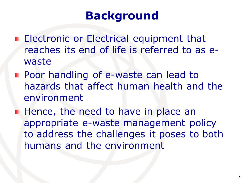 Background Electronic or Electrical equipment that reaches its end of life is referred to as e-waste.