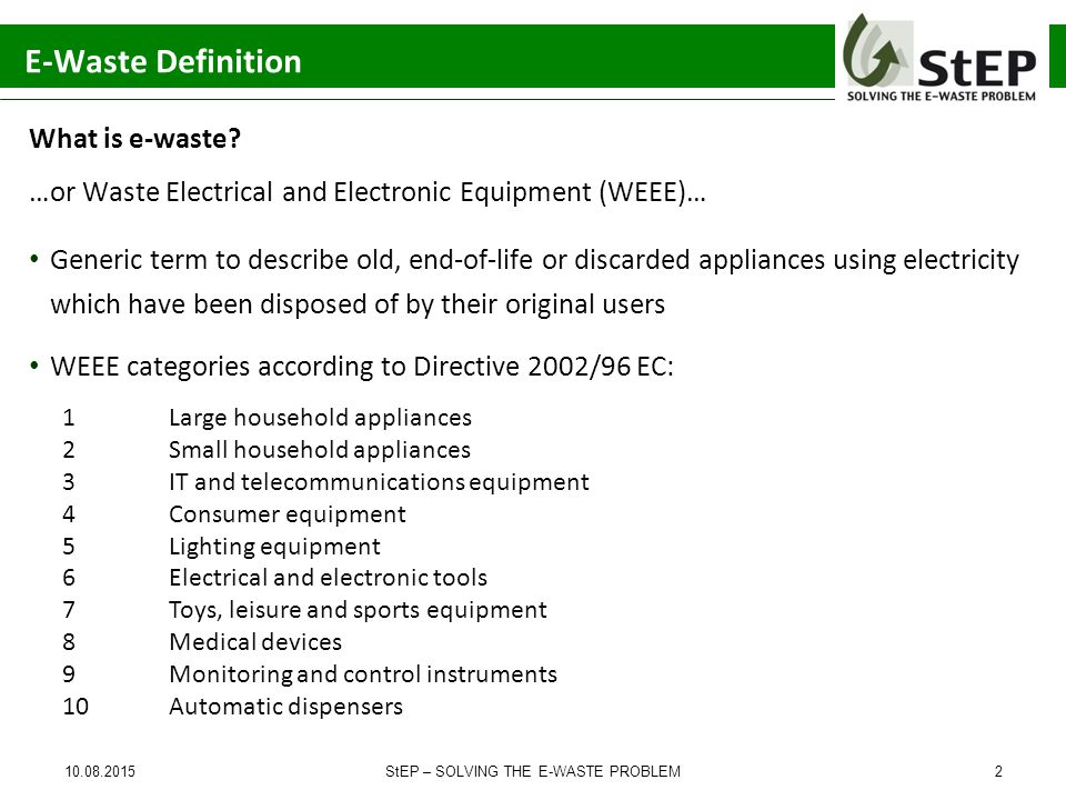 Solving the E-Waste Problem (StEP) Initiative – Towards ...