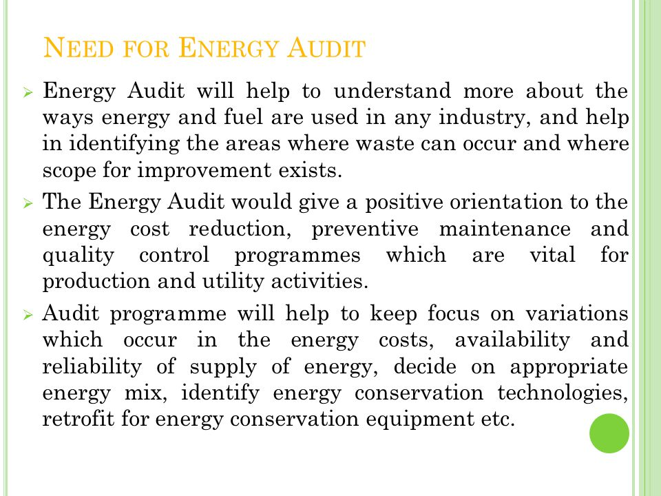 Need for Energy Audit
