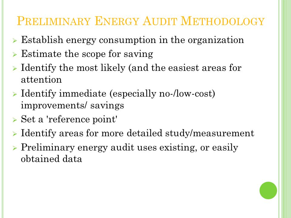 Preliminary Energy Audit Methodology