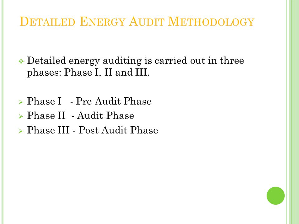 Detailed Energy Audit Methodology