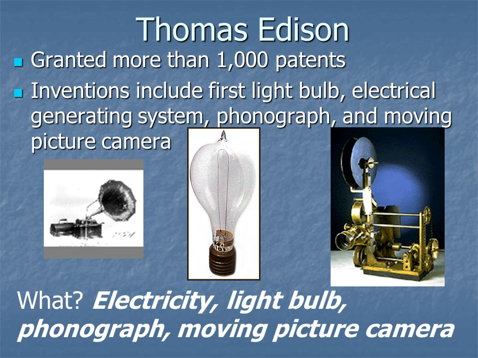 Thomas Edison Granted more than 1,000 patents.