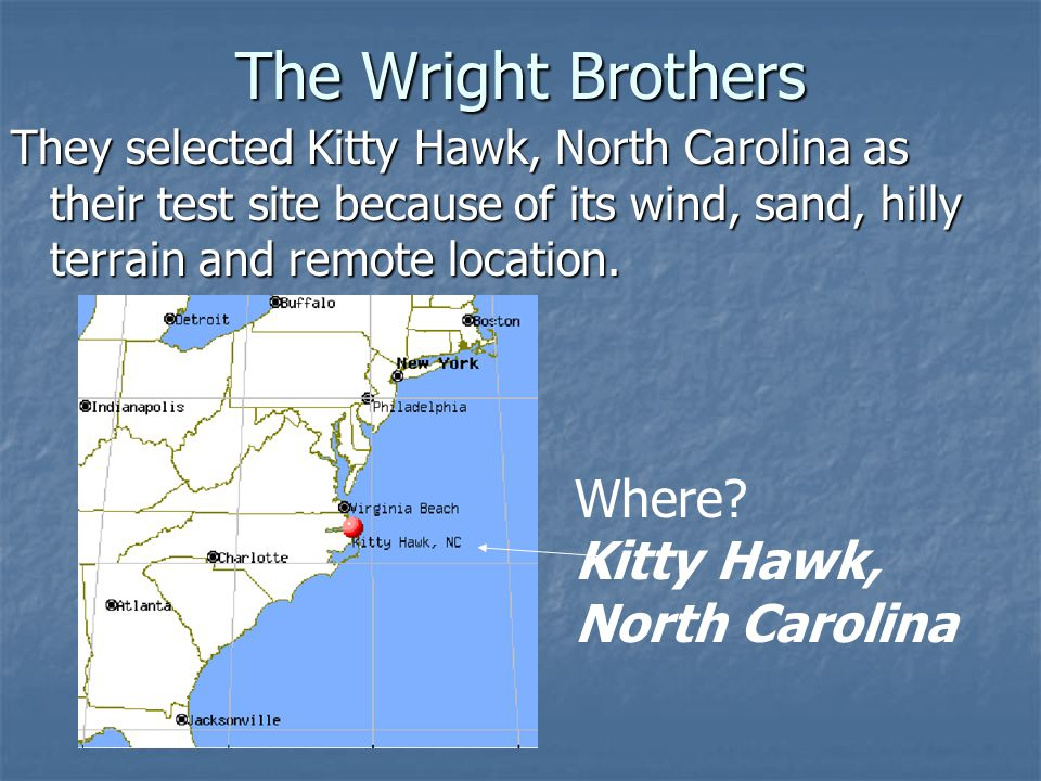The Wright Brothers Where Kitty Hawk, North Carolina