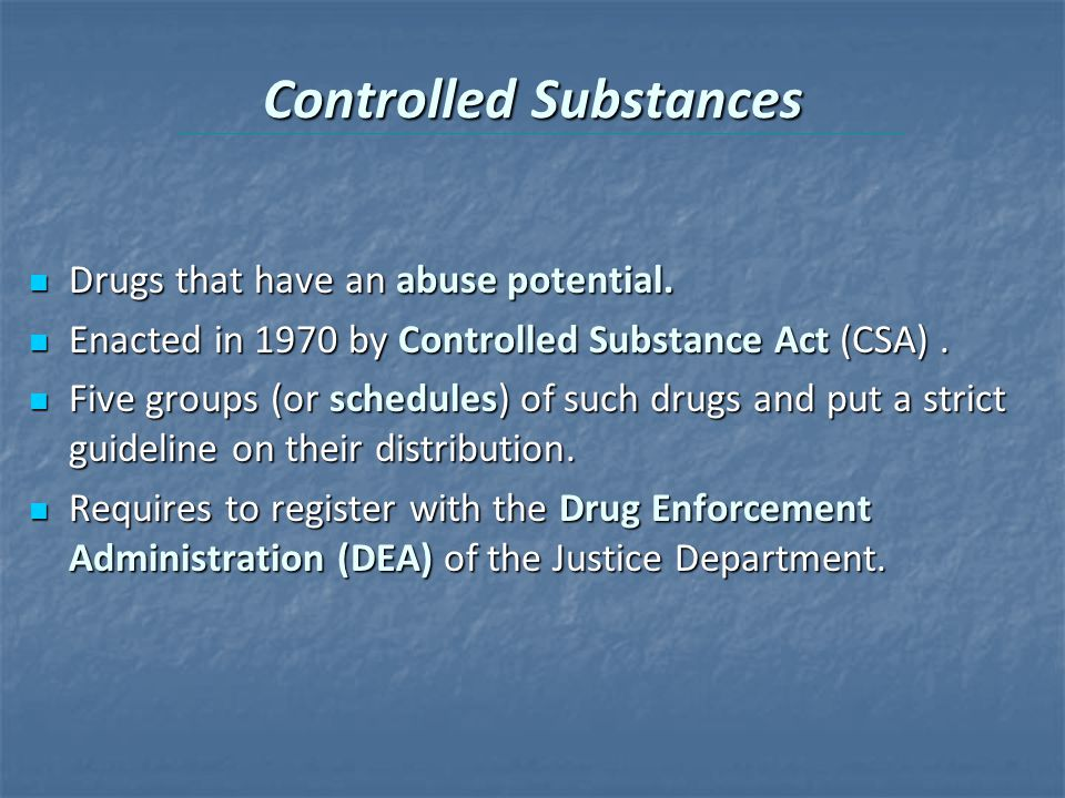 an introduction to the controlled substances act csa Washington, dc – in an effort to push back against repressive federal control of marijuana policy, bipartisan legislation was introduced in congress by representatives tom garrett (r-va) and tulsi gabbard (d-hi) to exclude cannabis from the federal controlled substances act (csa), which absurdly lists marijuana as a schedule 1 substance.
