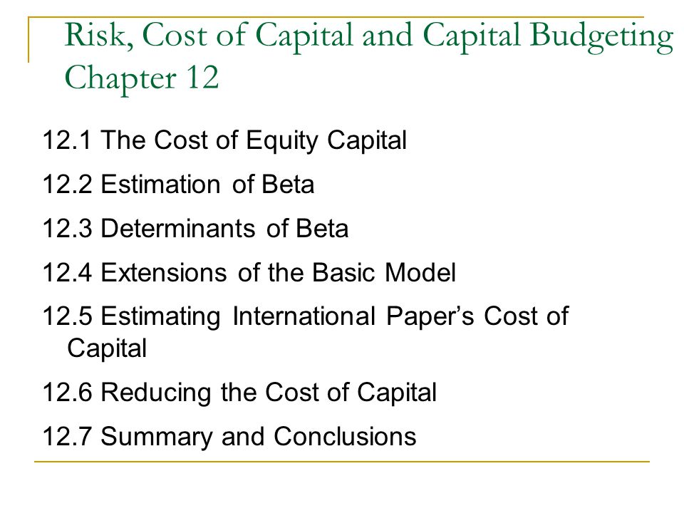 Capital budgeting conclusion