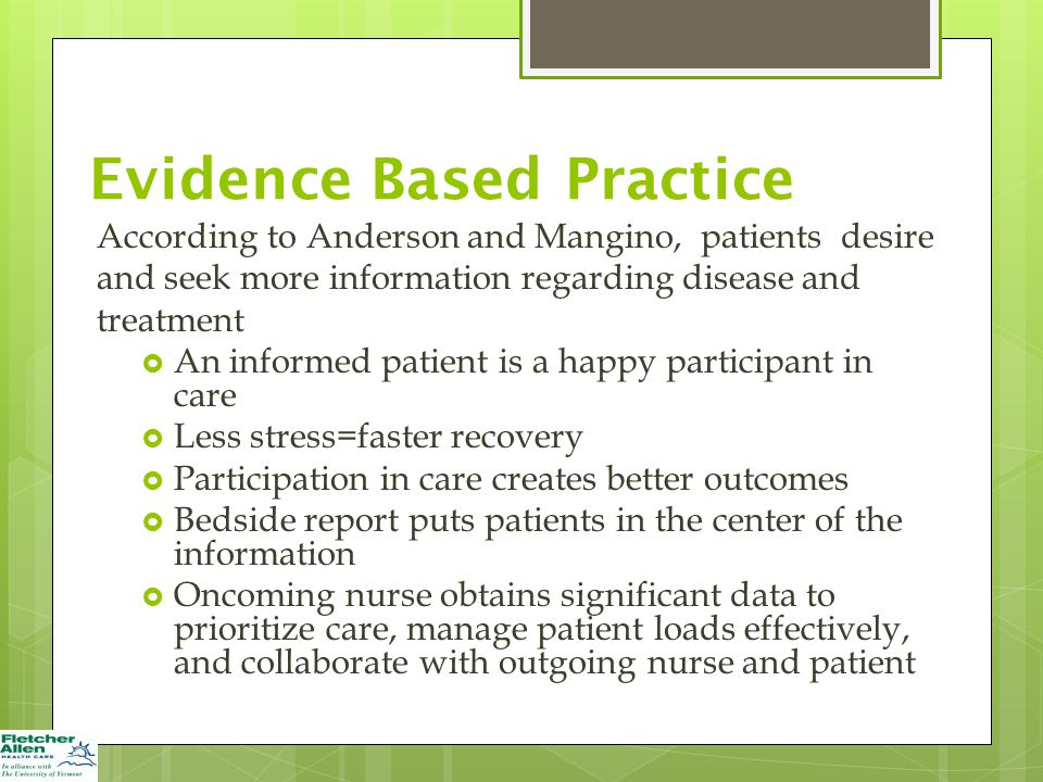 evidence based patient care becomes a Reconciling evidence-based medicine and  advantages of each so actual practice often becomes,  a model of care that is both evidence based and patient.