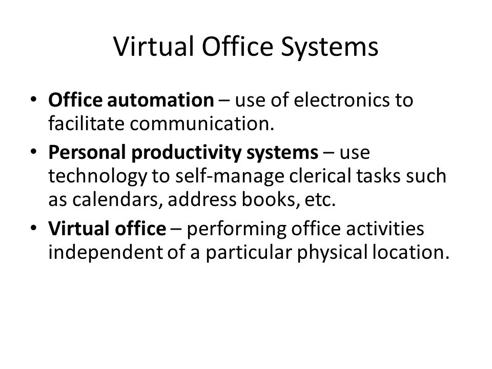 14 Virtual Office Systems  Clerical Tasks