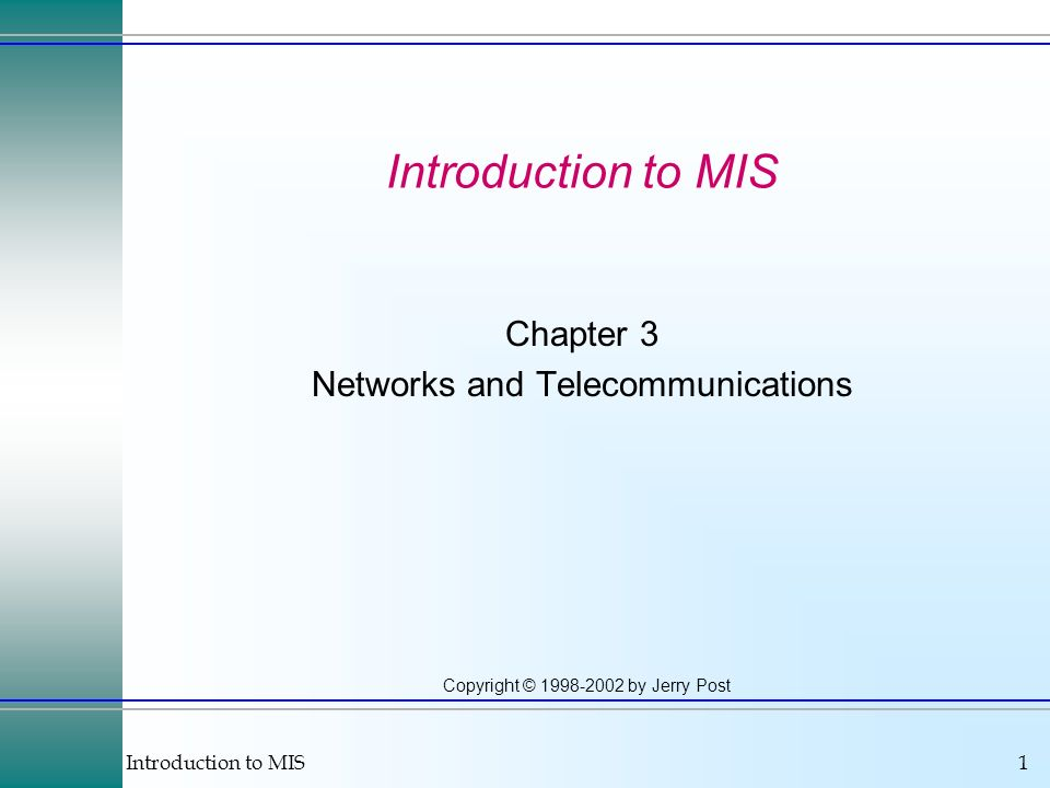 Chapter 3 Networks and Telecommunications