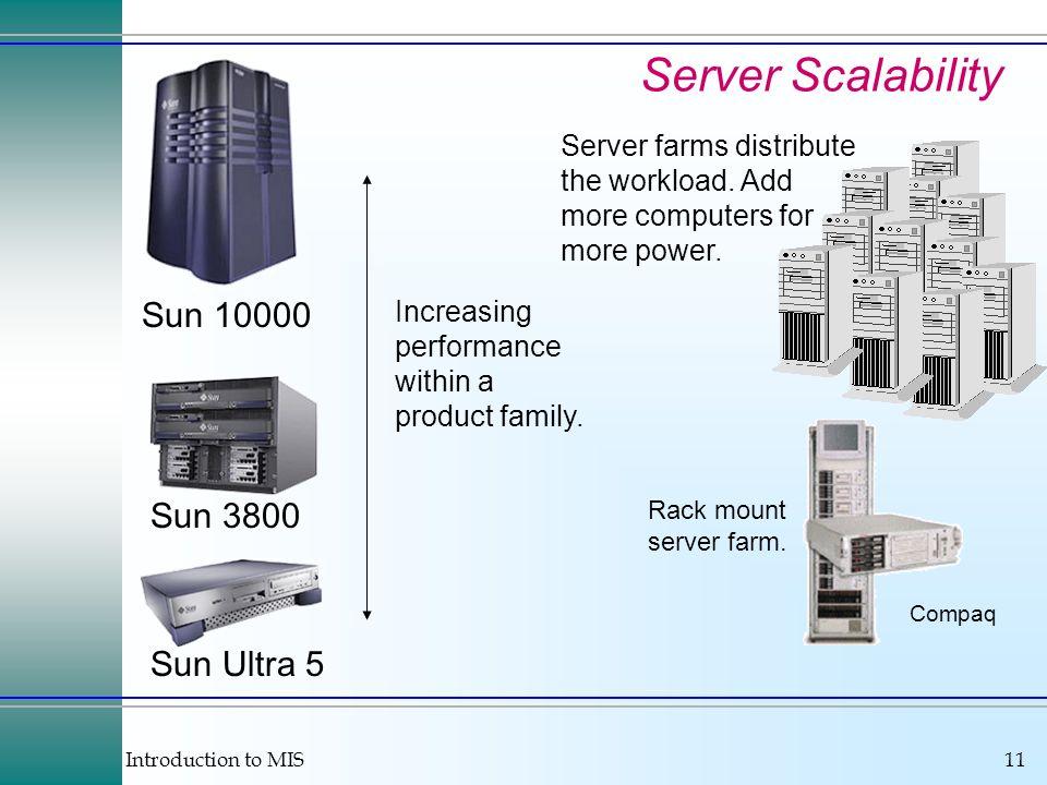 Server Scalability Sun 10000 Sun 3800 Sun Ultra 5
