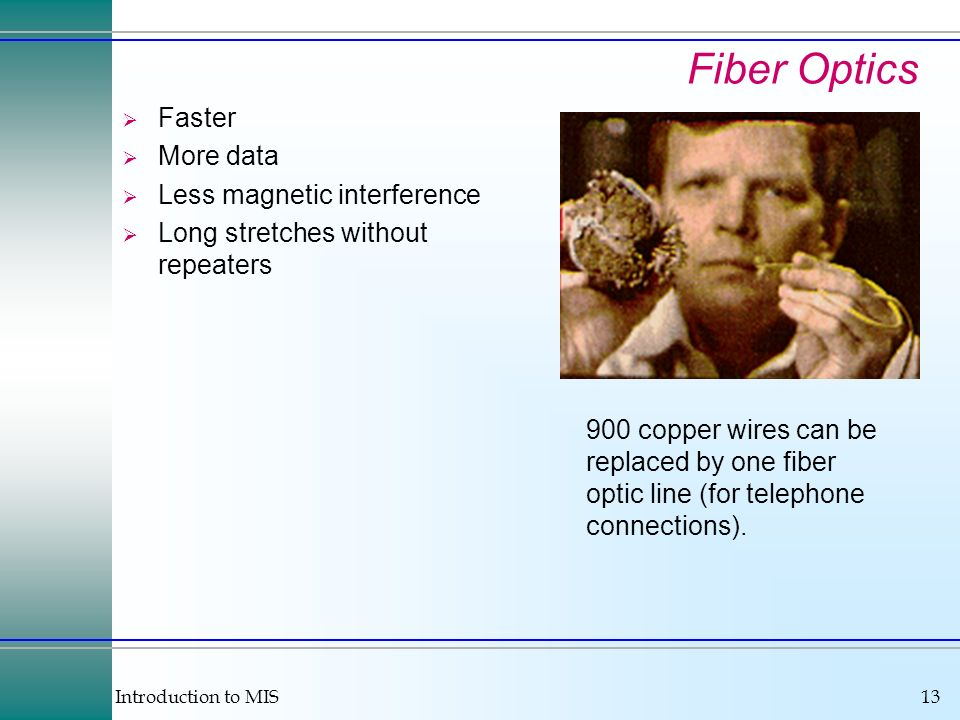 Fiber Optics Faster More data Less magnetic interference