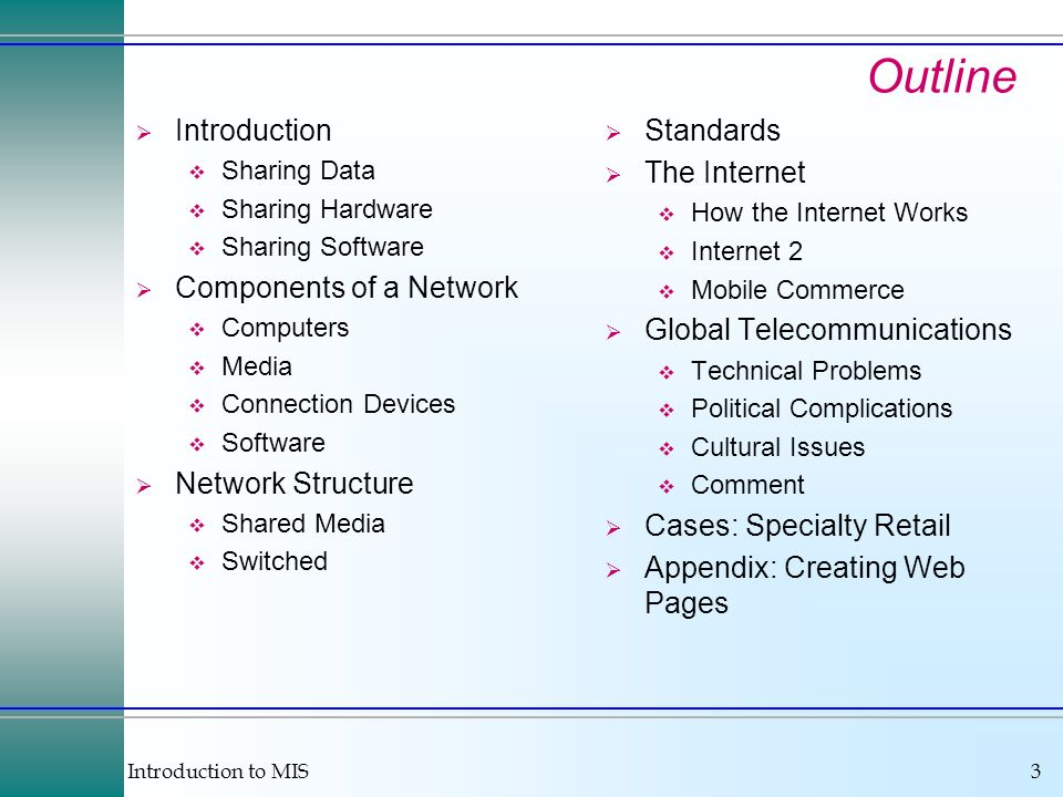 Outline Introduction Components of a Network Network Structure