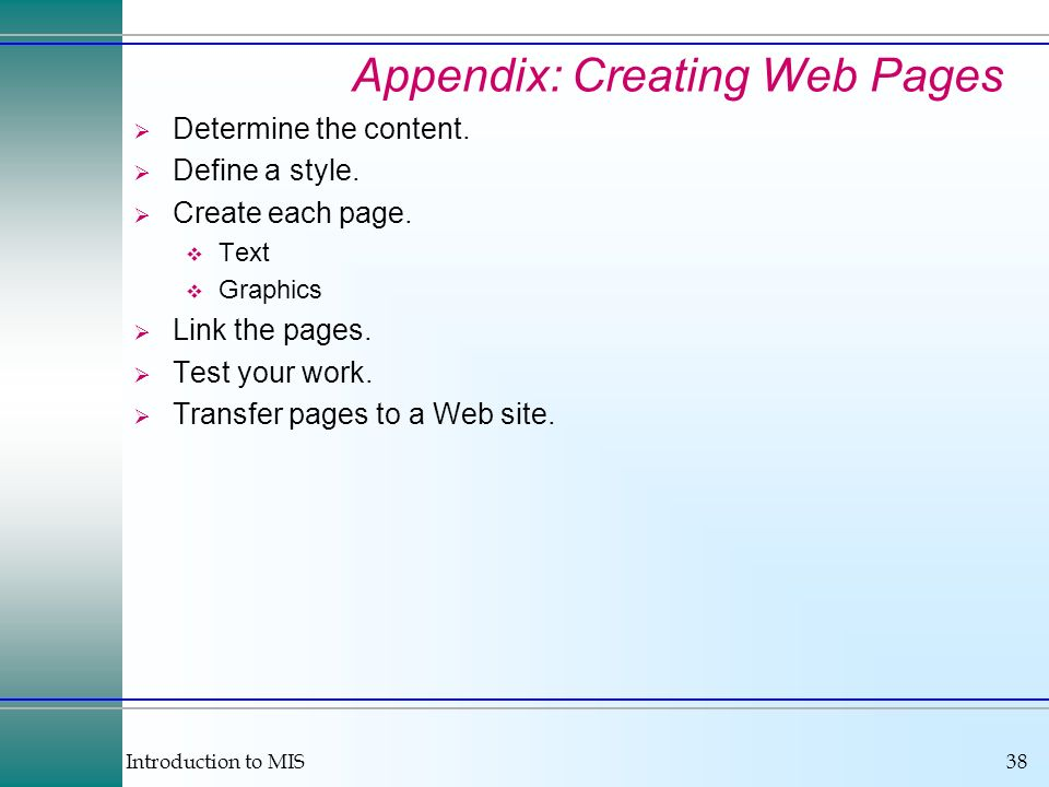 Appendix: Creating Web Pages
