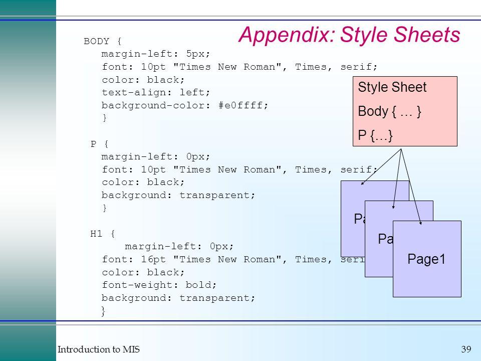 Appendix: Style Sheets