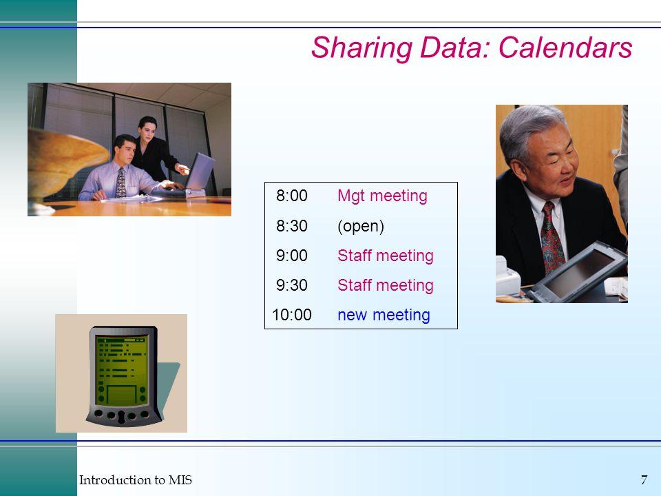 Sharing Data: Calendars