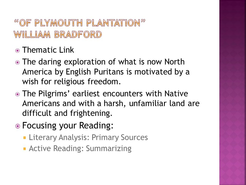 "american literature a unit one historical narrative ppt video  2 ""of plymouth plantation"" william bradford thematic link the daring"