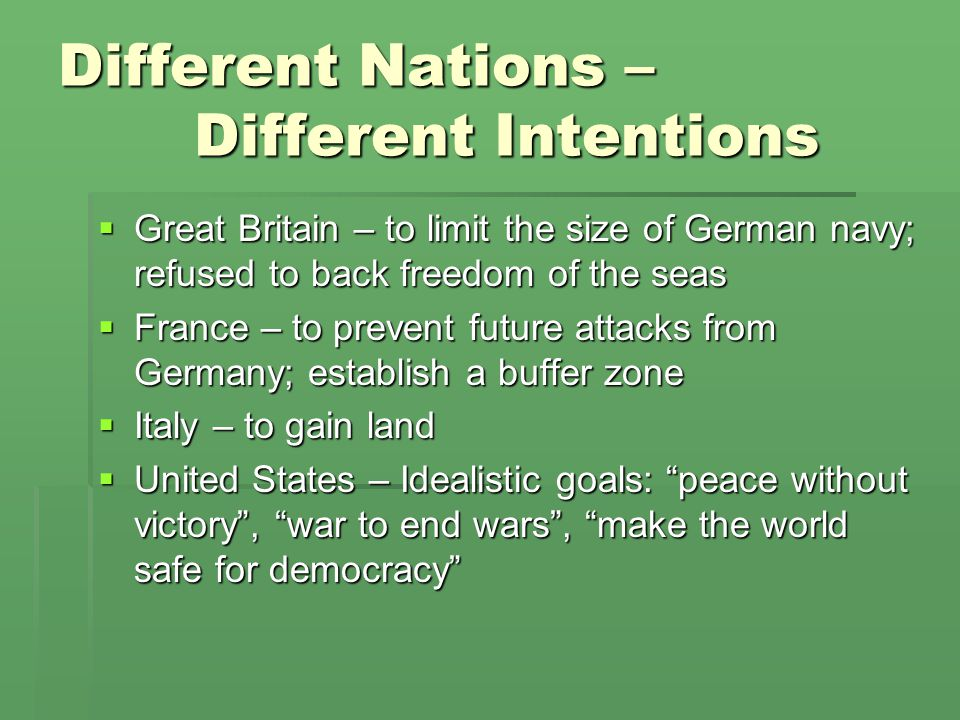 Different Nations – Different Intentions